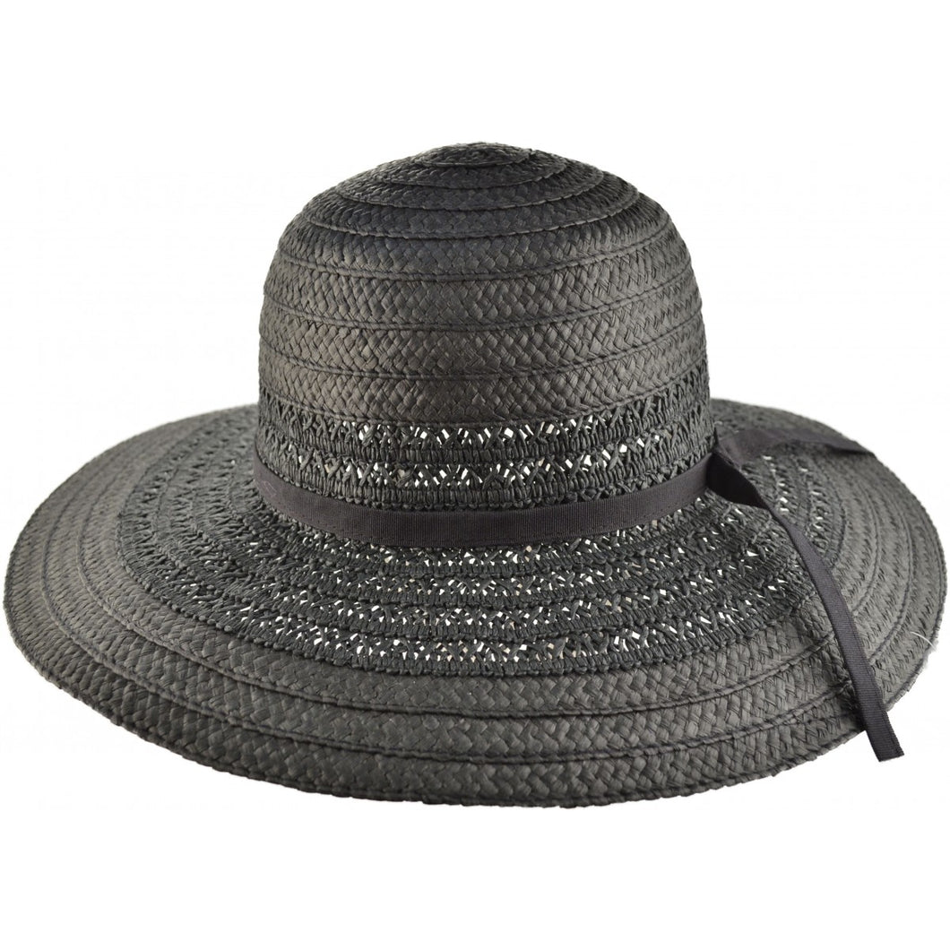 Black Textured Wide Brim Sun Hat - Pretty Swish Accessories Ripley Derbyshire