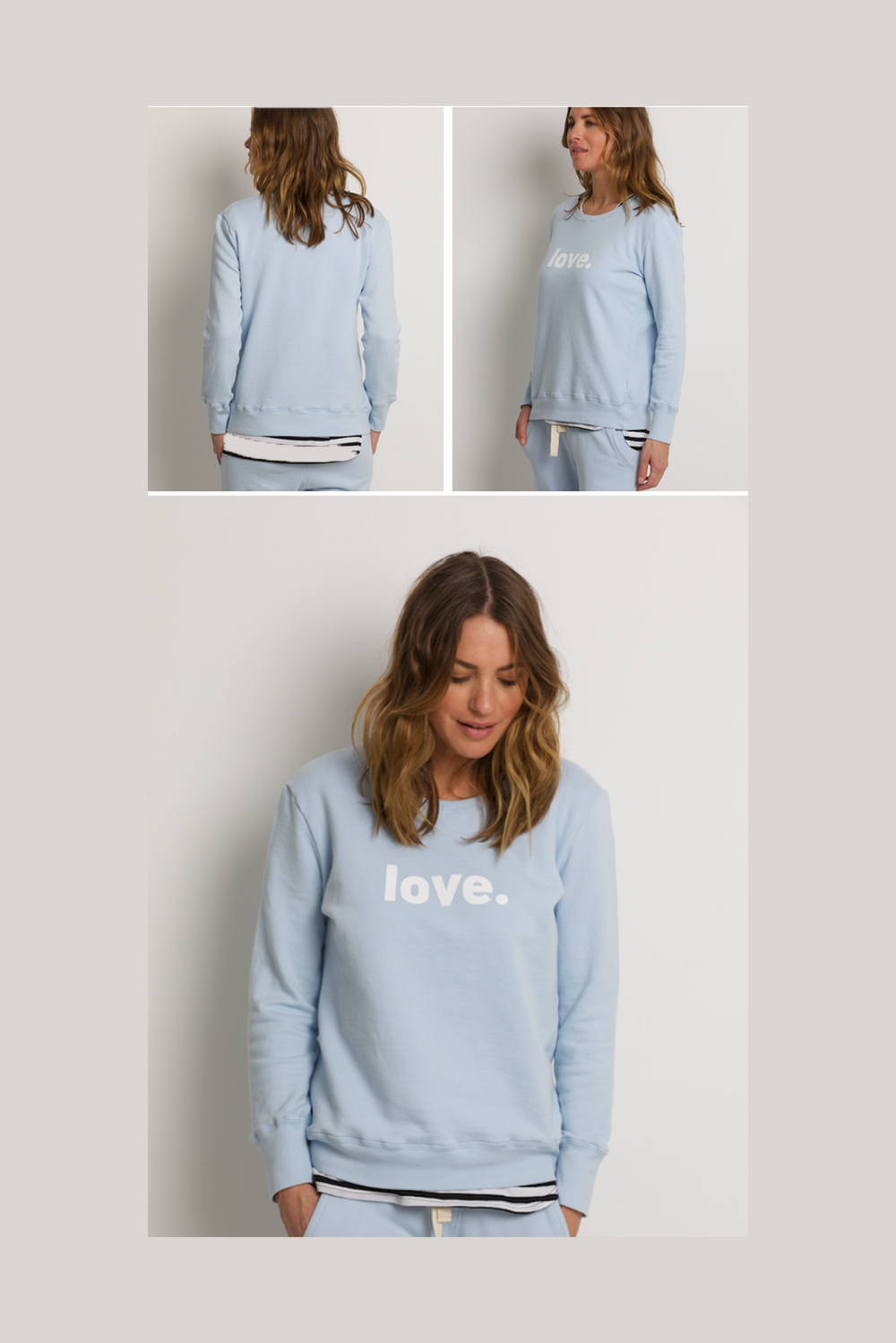 Organic Crew Pale Blue Love Sweater