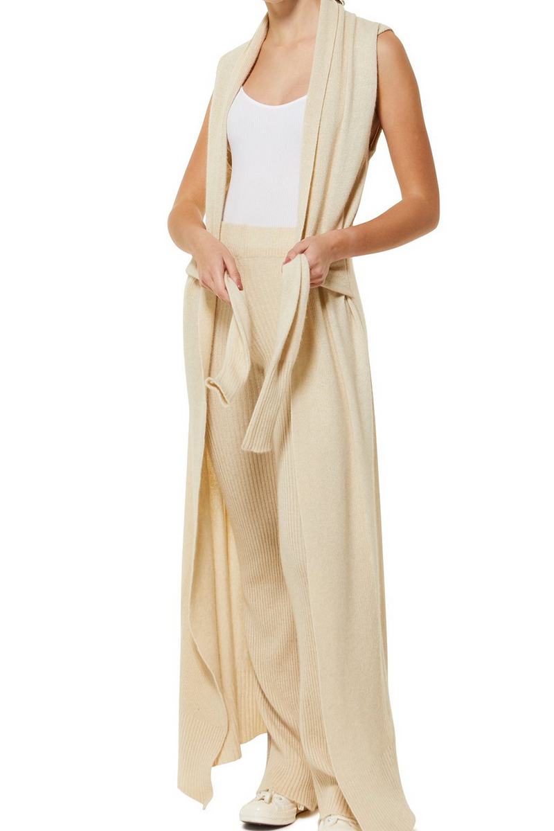 ELKA Sleeveless Cream Cardigan