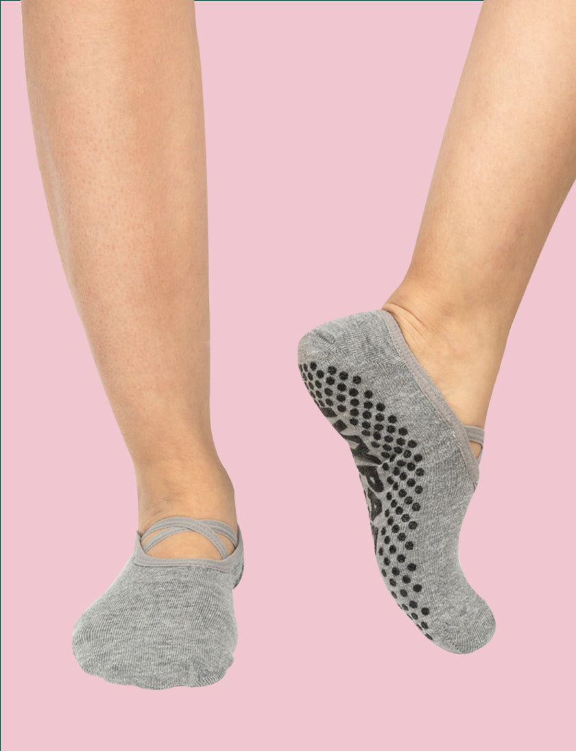 One Two Sock 2'li Bantlı Gri Yoga Pilates Çorabı - Aksesuar, One Two Sock