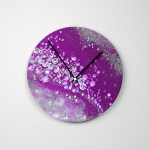 Amethyst Dreams Round Glass Wall Clock - Grace