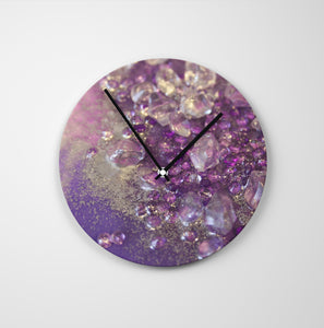 Amethyst Dreams Round Glass Wall Clock - Opulance