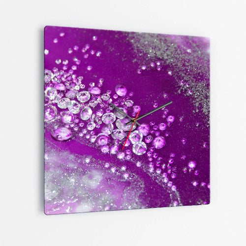 Amethyst Dreams Square Glass Wall Clock - Grace