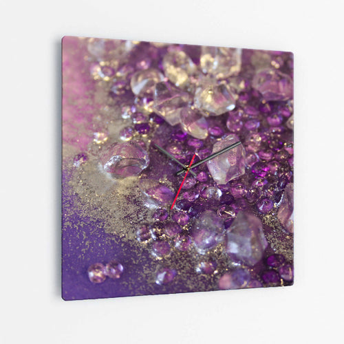 Amethyst Dreams Square Glass Wall Clock - Opulance