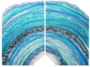 Atlantis 2 part diptych resin geode
