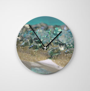 Dioptase Round Glass Wall Clock - Elegance