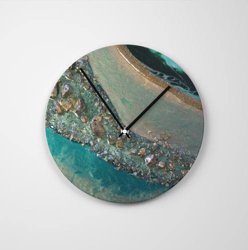 Dioptase Round Glass Wall Clock - Grace