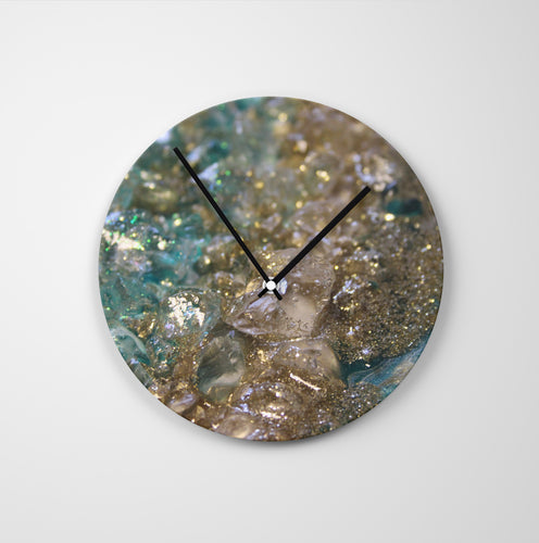 Dioptase Round Glass Wall Clock - Opulence