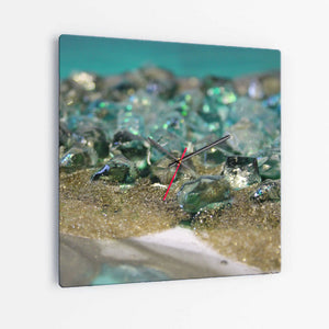 Dioptase Square Glass Wall Clock - Elegance