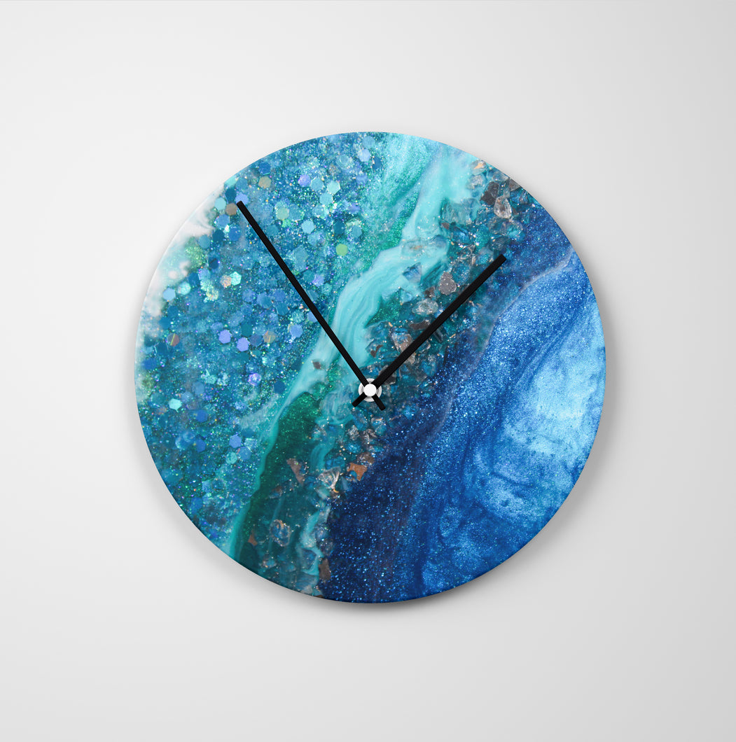 Elucidation Round Glass Wall Clock - Opulence