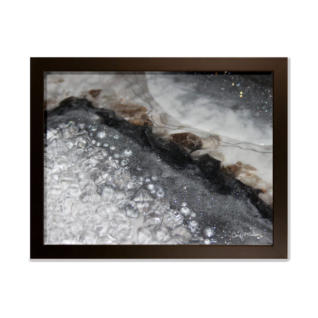 Grey Moonstone - Opulence framed print.
