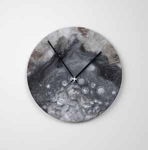 Grey Moonstone Round Glass Wall Clock - Elegance