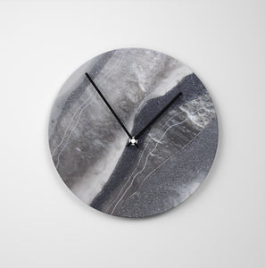 Grey Moonstone Round Glass Wall Clock - Grace