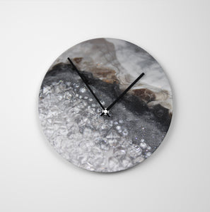 Grey Moonstone Round Glass Wall Clock - Opulence