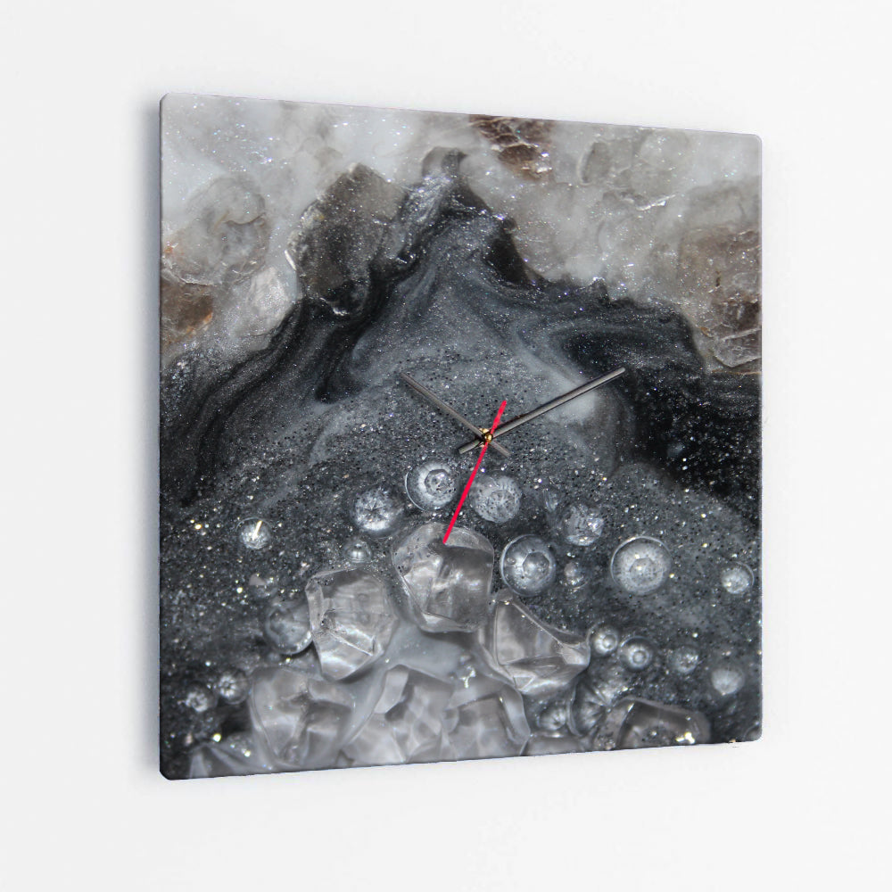 Grey Moonstone Square Glass Wall Clock - Elegance