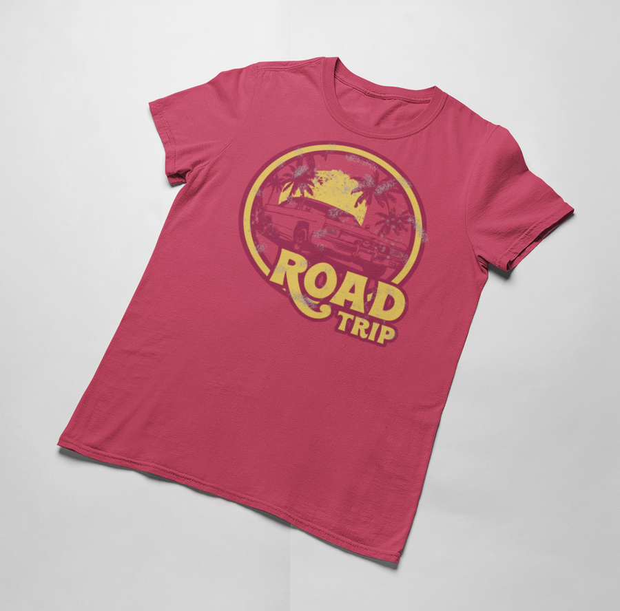 womens road trip tshirt, vintage red, mama feelsgood