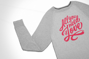 all need is love vintage sweatshirt, mama feelsgood