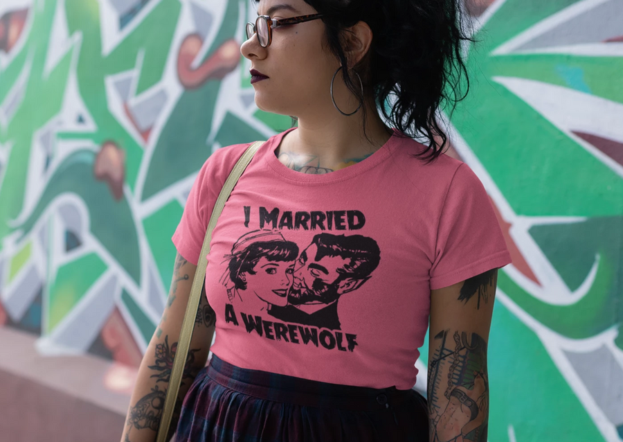 I Married A Werewolf red tshirt, horror film tshirt