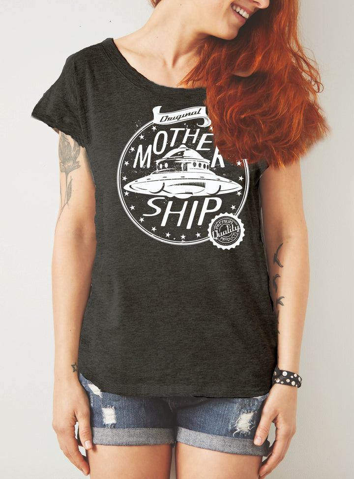 Mothership loose fit graphic print womens tshirt