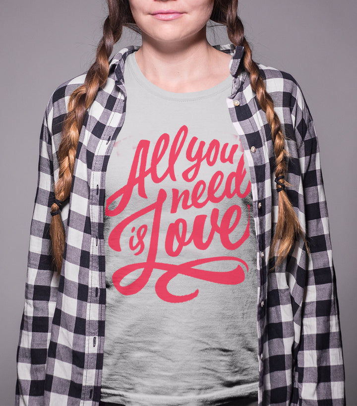 all need is love womens tshirt, mama feelsgood
