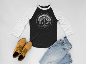 womens baseball style top, one love print, mama feelsgood