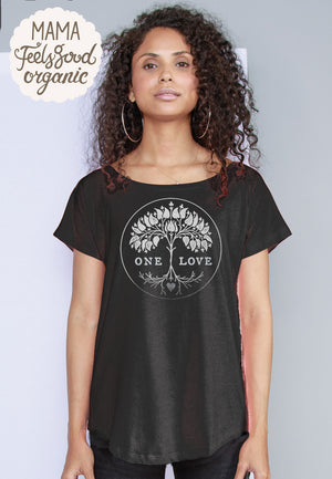 Loose Fit One Love womens organic cotton tee