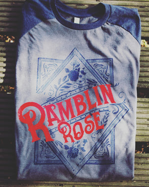 retro unisex baseball shirt, ramblin rose, mama feelsgood