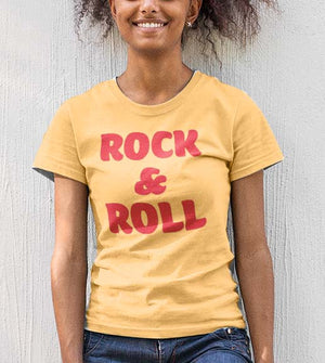 Sunshine yellow Rock & Roll graphic tee