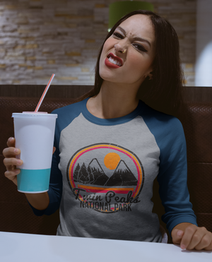 twin peaks national park vintage raglan womens tshirt mama feelsgood