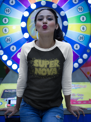 super nova graphic print tshirt, vintage womens baseball top, mama feelsgood graphic tes