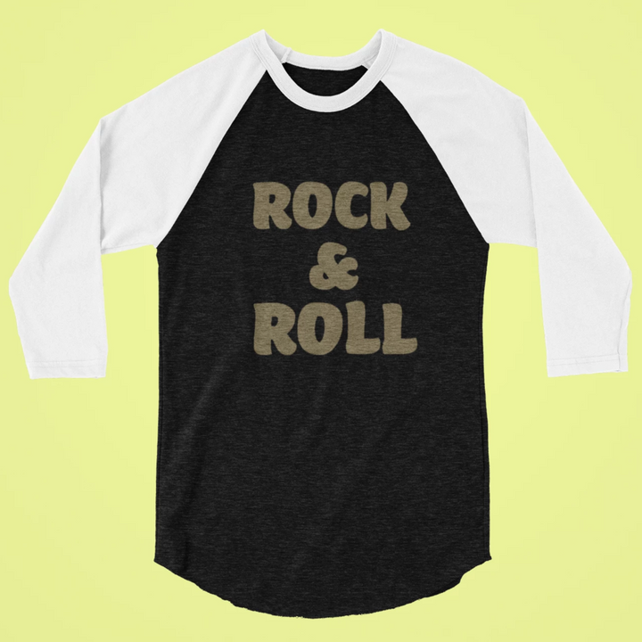 Rock & Roll  womens vintage baseball tshirt