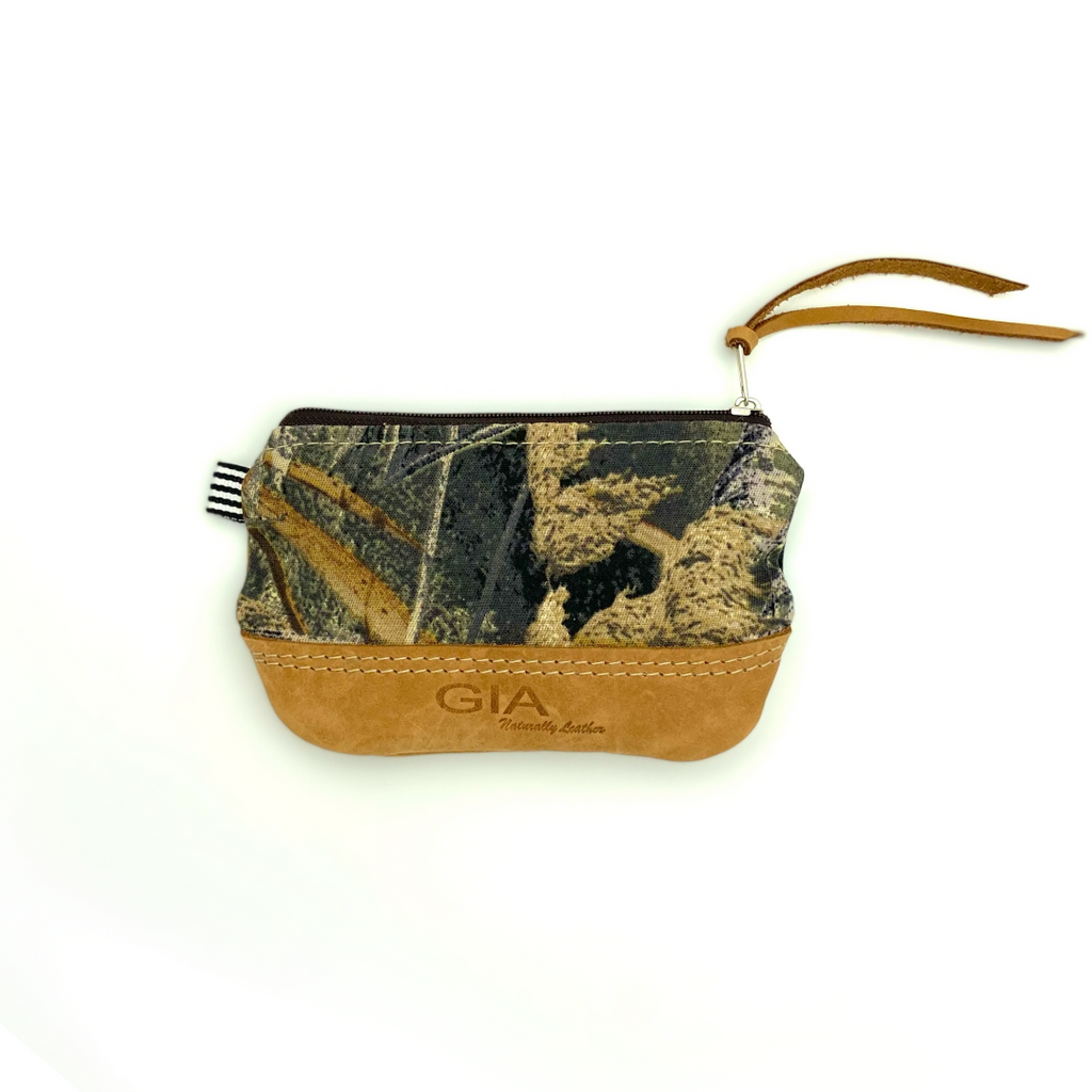 Gia Lulu Leather Lipstick Purse Grass & Sheraton