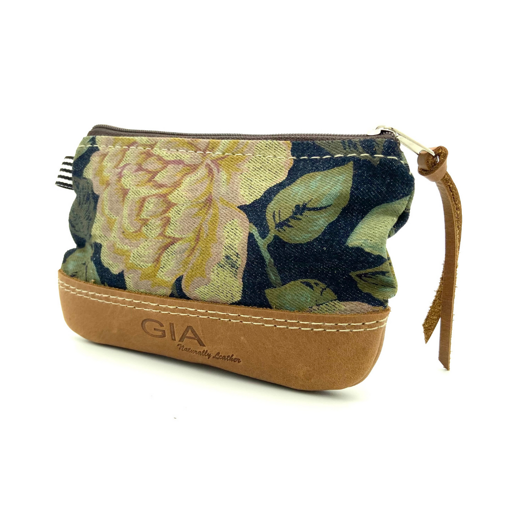Gia Lulu Leather Lipstick Purse Flower & Vintage Pecan