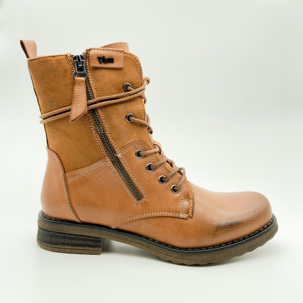 Plum Turna Brown Lace up Boot