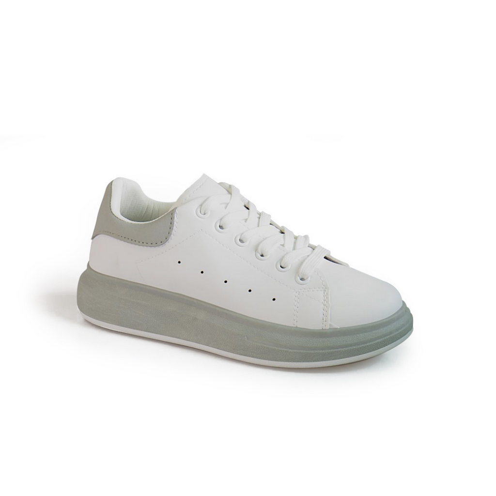 KG White/Grey Platform Lace Up Sneaker