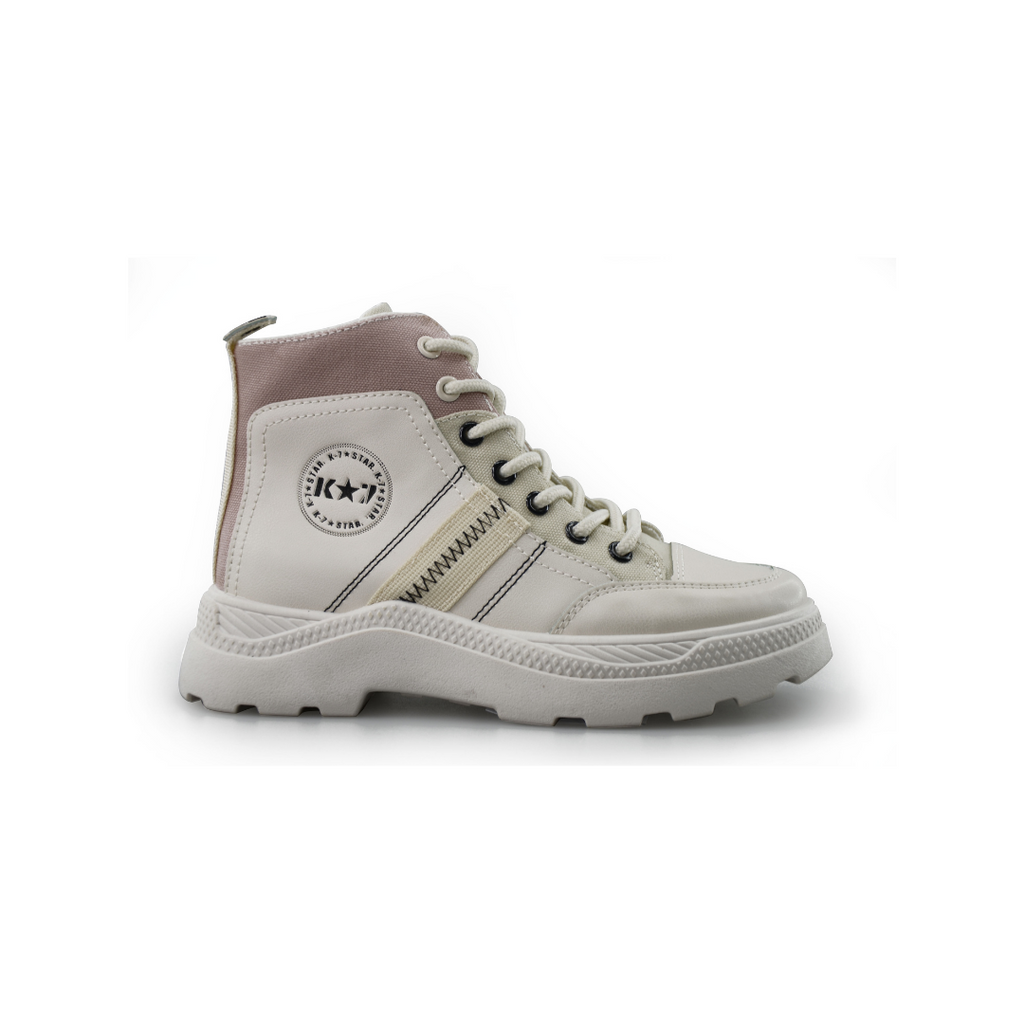 Kangol White/Pink Lace Up Sneaker