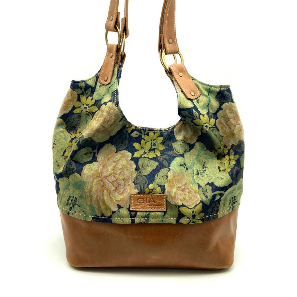 Gia Lulu Slouchy Leather Bag Flower & Vintage Pecan