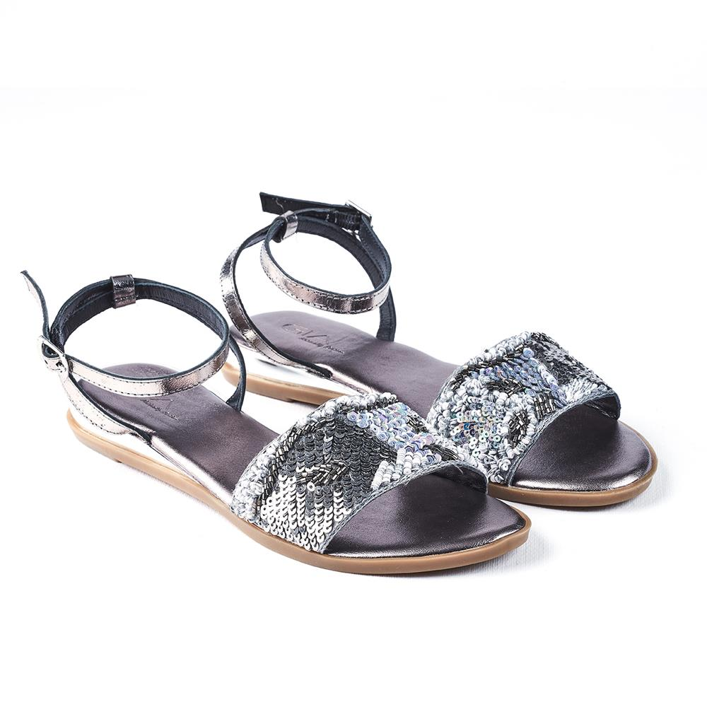 Gia Bella Leather Sequence Sandal - Pewter