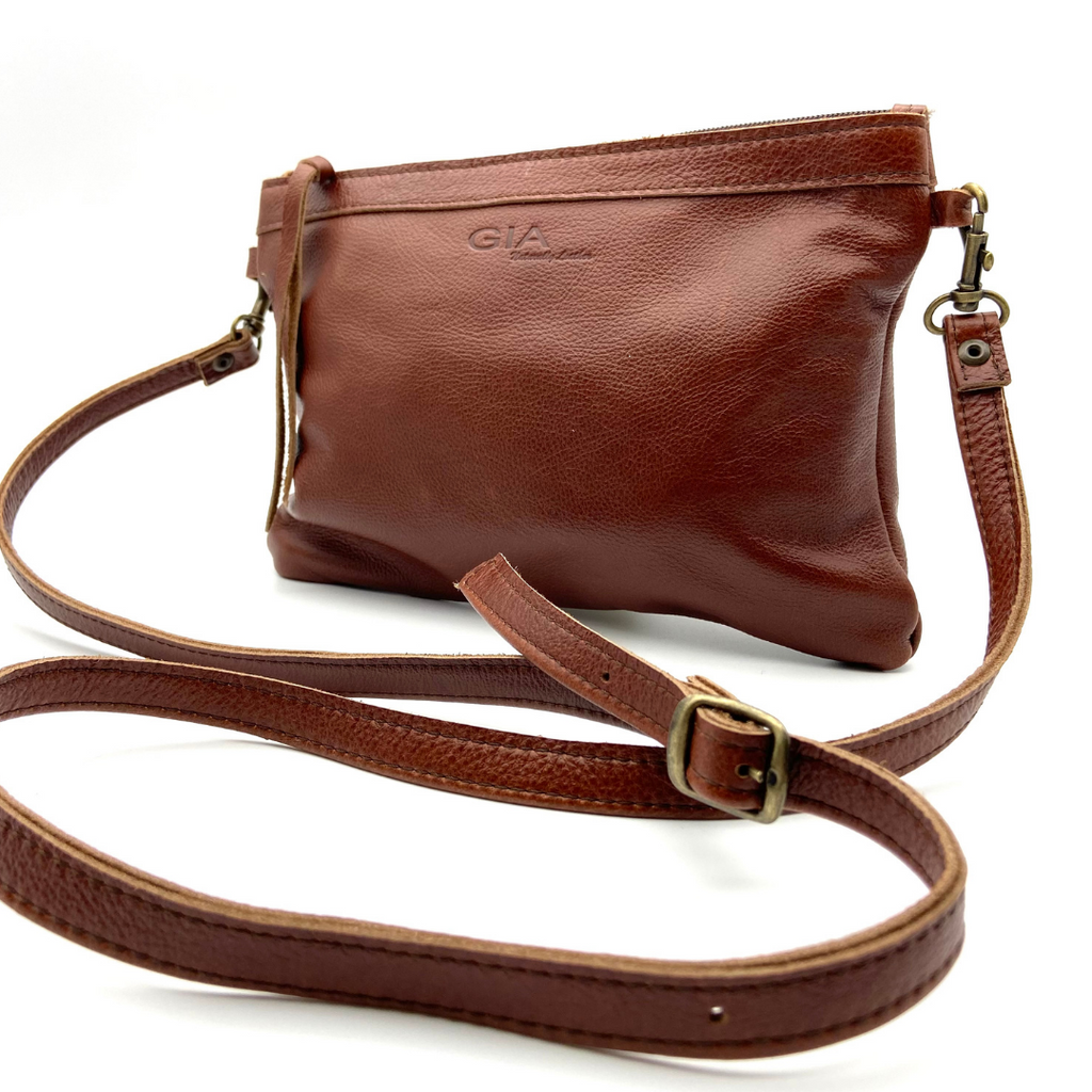 Gia Leather Over The Body Bag Classic Whiskey