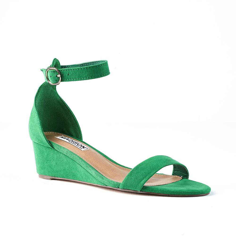 Madison Paisley Low Wedge With Ankle Strap - Green