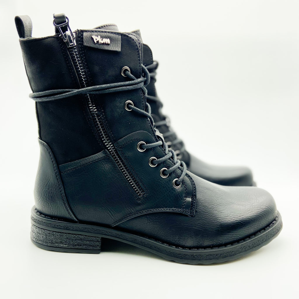 Plum Turna Black Lace up Boot
