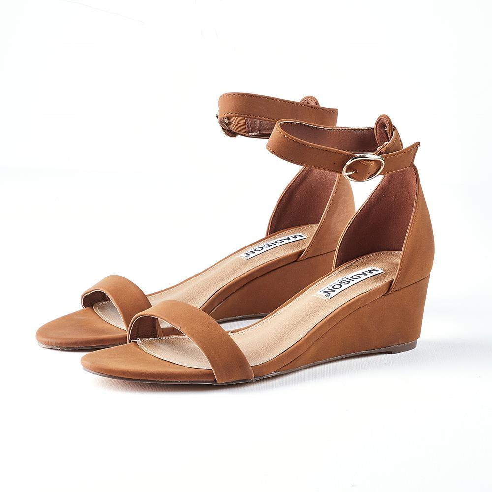Madison Paisley Low Wedge With Ankle Strap - Tan
