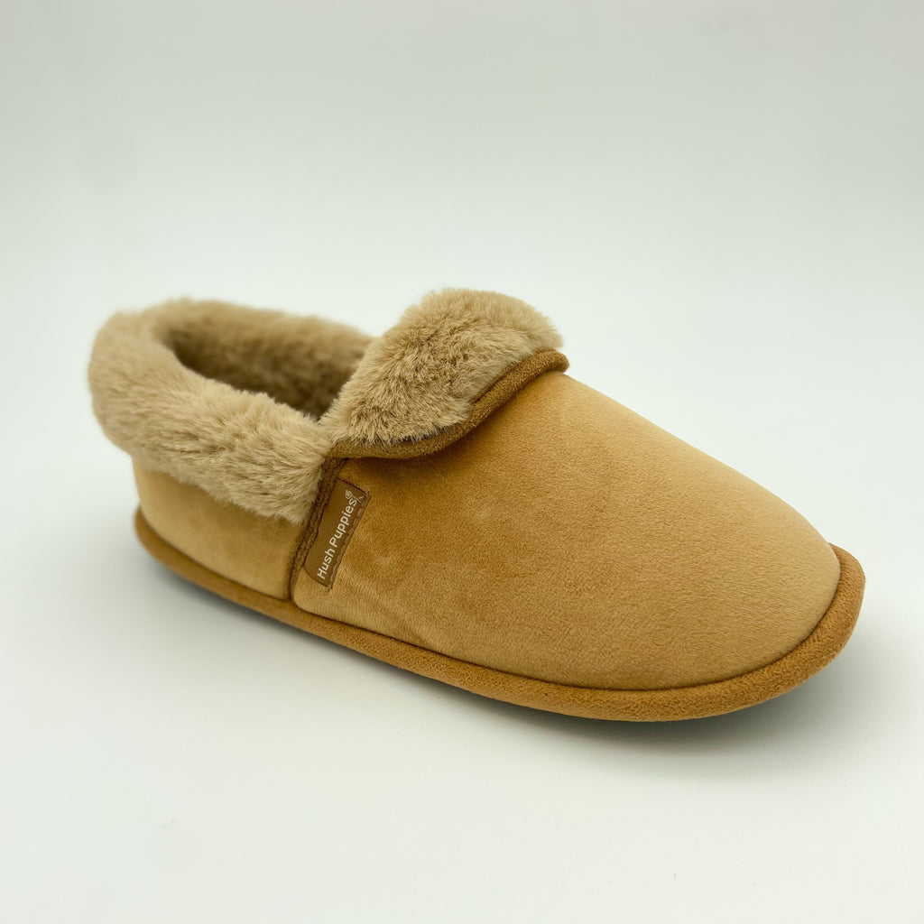Hush Puppies Tan Fur Closed Slipper