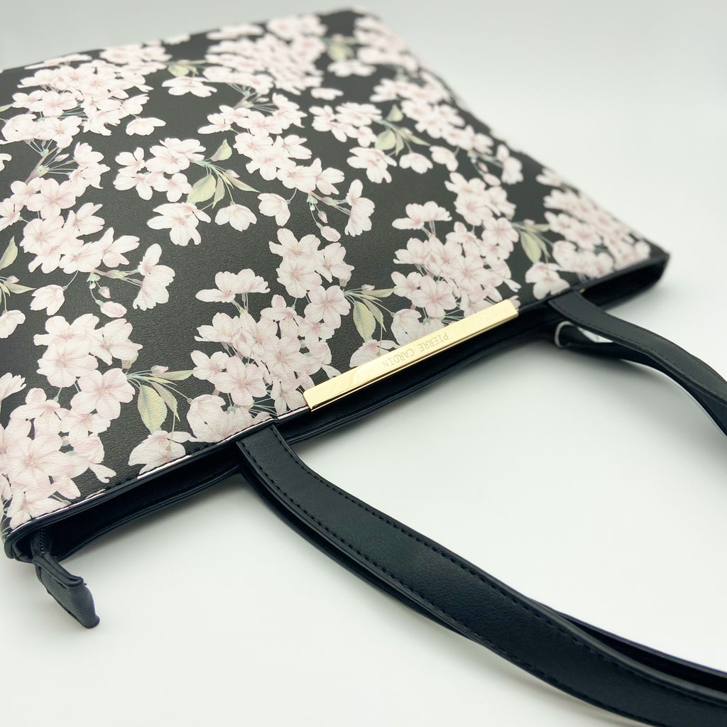 Pierre Cardin Black Floral Tote Bag