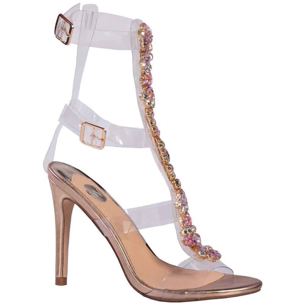 Footworks Embellished High Heeled Sandal - Rose Gold
