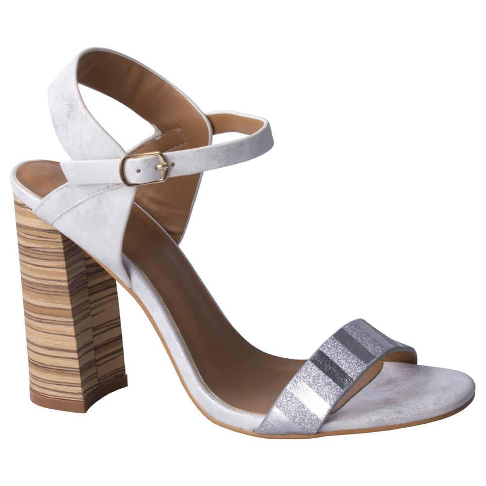Footworks Block Heel Sandal - White Silver