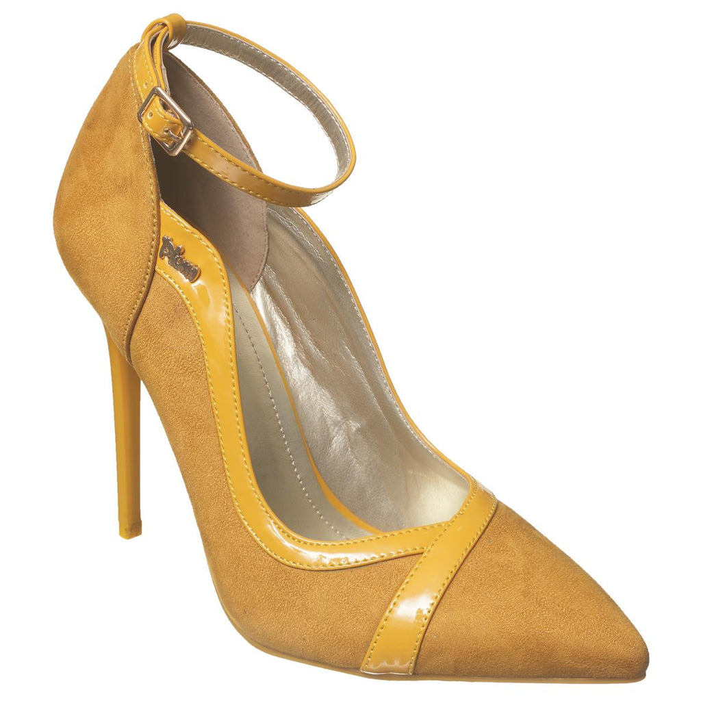 Plum Pointy Court Shoe - Mustard