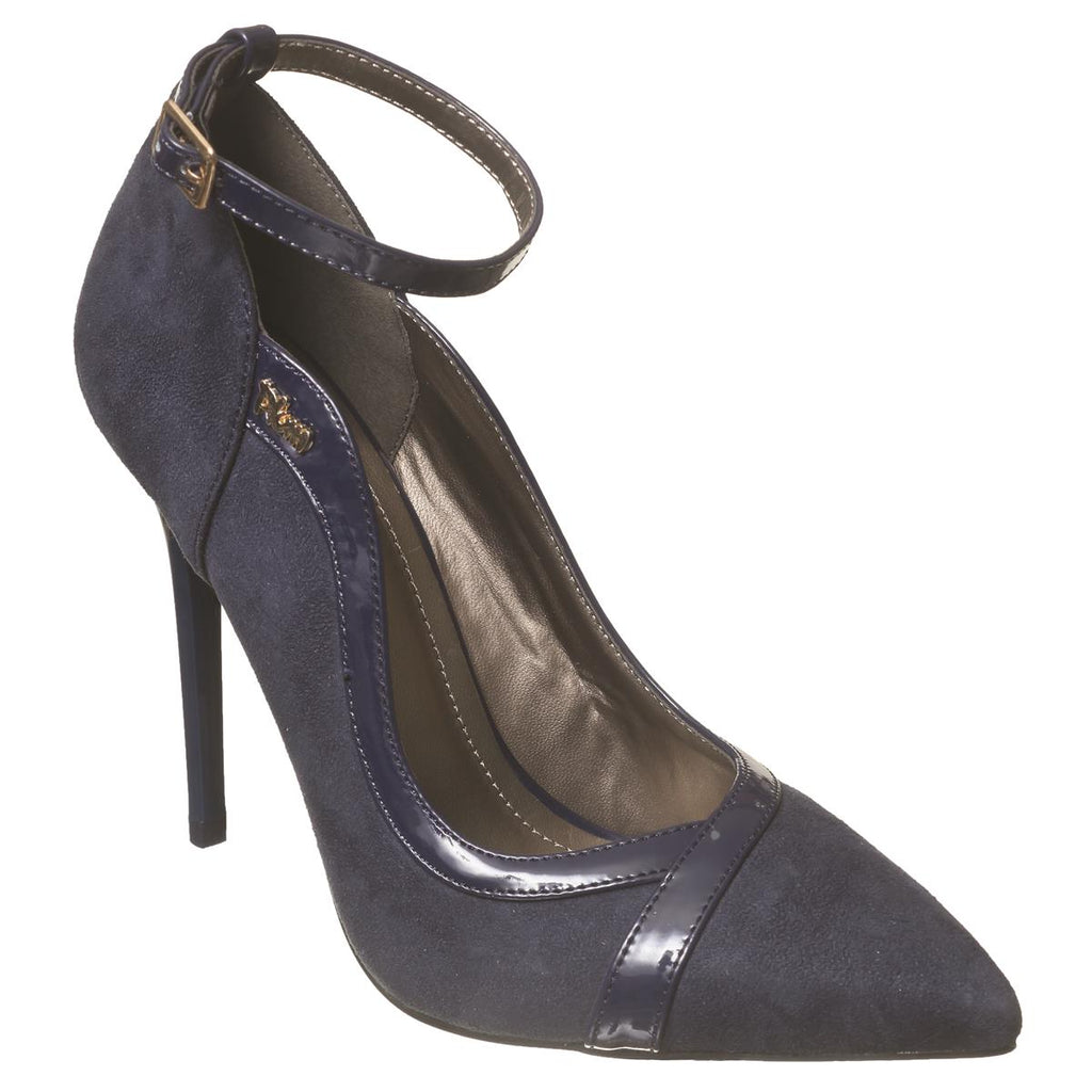 Plum Pointy Court Shoe - Navy