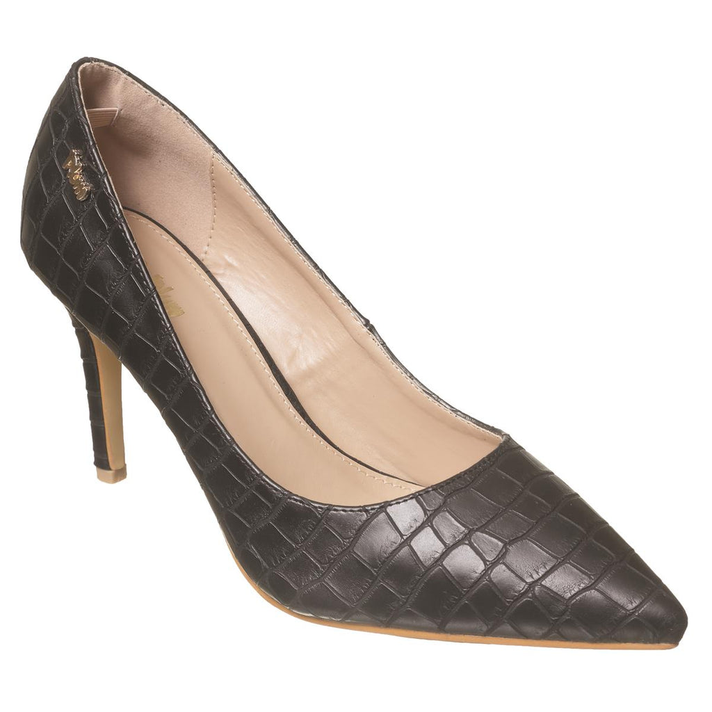Plum Pointy Court Shoe - Black