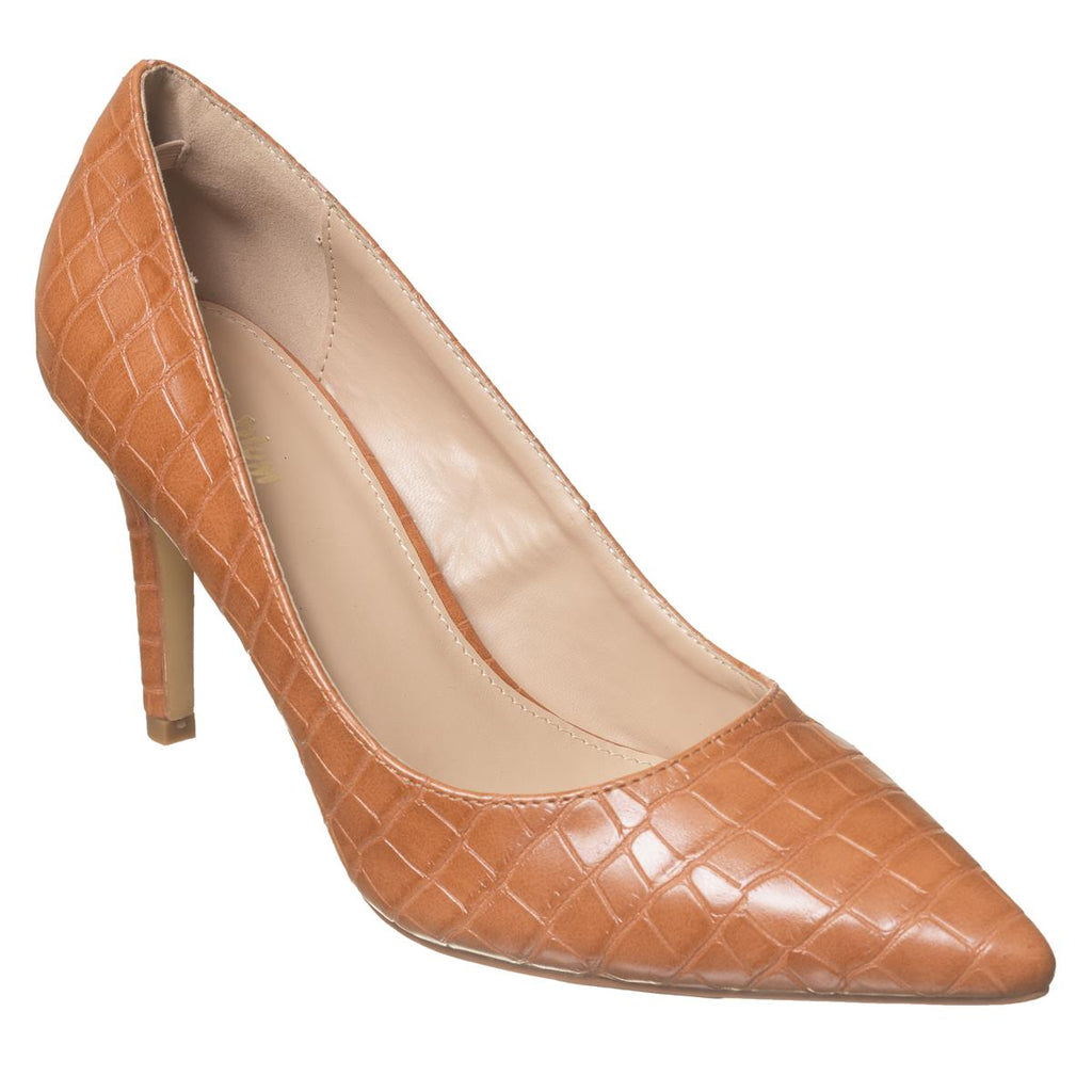 Plum Pointy Court Shoe - Tan